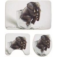 Sitting Elephant Waterproof Bathroom Shower Curtain Toilet Cover Mat Non-Slip Bath Rug Floor Mats Bathroom Decoration