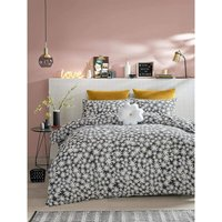 Double Duvet Cover Set, Daisy Charcoal, Bed Quilt Set - Skinny Dip