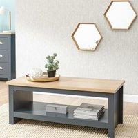 Slate Blue Oak Coffee Table Large Shelf Occasional Living Room Magazine Table