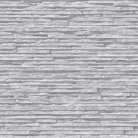 Slate Stone Brick Effect Wallpaper Bluff Muriva Light Grey Textured Vinyl