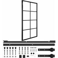 vidaXL Sliding Door Aluminium and ESG Glass with Hardware 102.5x205cm - Black