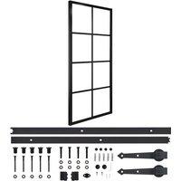 Sliding Door Aluminium and ESG Glass with Hardware 76x205cm - Black - Vidaxl