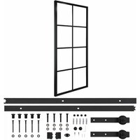 vidaXL Sliding Door Aluminium and ESG Glass with Hardware 76x205cm - Black