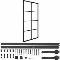 vidaXL Sliding Door Aluminium and ESG Glass with Hardware 90x205cm - Black