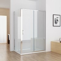1100 x 760 mm Sliding Shower Enclosure Cubicle Door with 760 mm Side Panel Corner Entry Easy Clean Nano Glass Screen - No Tray