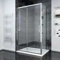 Sliding Shower Door Modern Bathroom 8mm Easy Clean Glass Shower Enclosure Cubicle 1600 x 760mm with Shower Tray+ Side Panel