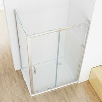 1000 x 760 mm Sliding shower Door Shower Enclosure Cubicle with 700 mm Side Panel 6 mm Easy Clean Nano Glass - No Tray - LISA