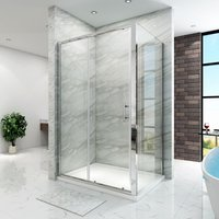 Sliding Shower Enclosure 6mm Safety Glass Reversible Bathroom Cubicle Screen Door with Side Panel 1000 x 800 mm - ELEGANT