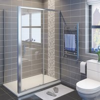 Sliding Shower Enclosure 6mm Safety Glass Reversible Bathroom Cubicle Screen Door with Side Panel 1200 x 760 mm