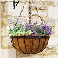 Smart Garden 40cm 16 Inch Metal Saxon Metal Hanging Basket Black Planter Liner