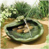 Smart Garden Solar Ceramic Glazed Frog Garden Water Feature Fountain Bird Bath