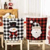 Bearsu - Snowman Christmas Chair Covers Buffalo Plaid Christmas Chair Back Covers Washable Dining Room Chair Protector Slipcovers Xmas Holiday Party