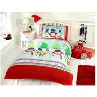 Snowman friends Double Quilt Duvet Cover and 2 Pillowcase Bedding Bed Set