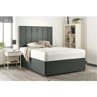 Snuggle Baige Linen Sprung Memory Foam Divan bed No Drawer With Headboard Super King