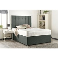 Bed Centre - Snuggle Grey Linen Sprung Memory Foam Divan bed With 2 Drawer Same Side And Headboard Small Single