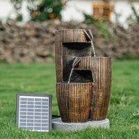Soalr Power Water Pump Wooden Barrel Effect LED Falls Fountain Outdoor Garden