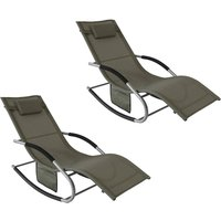 SoBuy Set of 2 Sun Loungers and Recliners with Side Bag,Garden Furniture, OGS28-BRx2