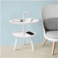 2 Tiers Round Plastic Side End Table Bed Sofa Side Table FBT71-W - Sobuy