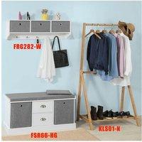 SoBuy Hallway Furniture Set, 3 Baskets Hallway Storage Bench with Wall Storage Cabinet,FSR67-HG+FRG282-W
