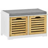 SoBuy Shoe Cabinet Storage Bench with 2 Drawers and Seat Cushion, FSR23-K-WN