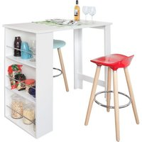 Kitchen Dining Table,Coffee Bistro Bar Table with Storage Rack,FWT17-W - Sobuy