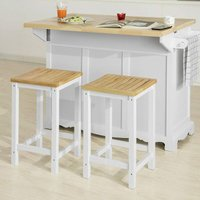 Kitchen Island Set,Kitchen Island and Set of 2 Wooden Kitchen Breakfast Bar Stool,FKW41-WN+FST29-WNX2 - Sobuy