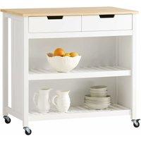 White Wood Kitchen Trolley Storage Cupboard Bar Table FKW74-WN - Sobuy