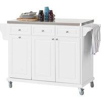 Luxury Kitchen Storage Island with Stainless Steel Worktop,White,FKW33-W - Sobuy