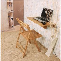 Natural Bamboo Wall-mounted Drop-leaf Table, Folding Kitchen and Dining Table Desk, 60x40cm, FWT031-N - Sobuy