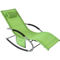 Outdoor Garden Rocking Chair Relaxing Chair Sun Lounger with Side Bag, OGS28-GR - Sobuy