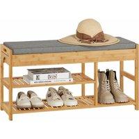 Padded Hallway Shoe Storage Rack Bench with Storage Space,FSR47-N - Sobuy