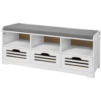 Shoe Storage Bench with Drawers, Storage Cubes and Seat Cushion, FSR36-W - Sobuy