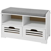 Shoe Storage Bench with 2 Drawers, 2 Storage Cubes and Cushion,FSR36-K-W - Sobuy