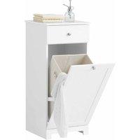 White Bathroom Laundry Basket Bathroom Storage Cabinet Unit with Drawer,BZR21-W - Sobuy