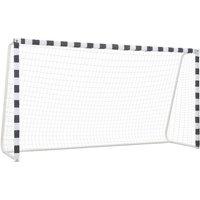Soccer Goal 300x160x90 cm Metal Black and White - White