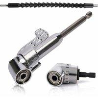 SOEKAVIA 105 Degree Right Angle Drill Bit Screwdriver Adapter (1PCS Short + 1PCS Long? and 1/4 inch Flexible Electric Drill Screwdriver Angle
