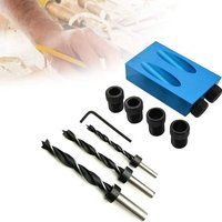 15 Degree Angle Drive Pocket Hole Jig Kit with 6/8 / 10mm Hole Drive Adapter for Woodworking Angle Drill Guide - Soekavia