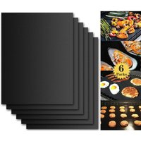 SOEKAVIA Barbecue Grilling Mat, Set of 6 Barbecue and Oven Baking Sheets - 40 * 33 cm BBQ Non-Stick and Reusable Baking Sheets for gas, charcoal or