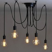 Hanging Edison 2 Meters Adjustable Ceiling Lamp Spider Light Metal Wire Cage Pendant Lighting Chandelier Modern Industrial Luminous Light (Bulb NOT