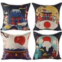 Japanese Fuji Ukiyo-e Cotton Linen Cushion Cover Sofa Car Home Bed Decor Pillow Cover 45 x 45cm, 4 Piece Set (Japanese Style A) - Soekavia