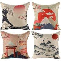 Japanese Fuji Ukiyo-e Cotton Linen Cushion Cover Sofa Car Home Bed Decor Pillow Cover 45 x 45cm, 4 Piece Set (Japanese Style B) - Soekavia