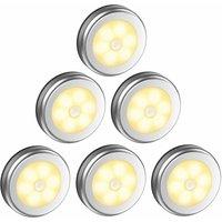 LED Closet / Cabinet Light, 6pcs Nightlight Wardrobe Lights, LED Motion Sensor Lighting with Magnetic Base, for Kitchen Staircase Showcases Cabinet