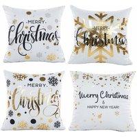 Pillow Case, Set of 4 Cotton Linen Christmas Snowflake Print Square Cushion Cover for Bed Car Bed Home Sofa 45 x 45 cm (Set-B) - Soekavia