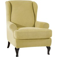 Sofa Covers Wing Chair Elastic Fabric Stretch Couch Slipcover Polyester Spandex Furniture Protector (Beige),model:Beige