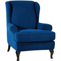 Sofa Covers Wing Chair Elastic Fabric Stretch Couch Slipcover Polyester Spandex Furniture Protector (Dark blue),model:Dark blue
