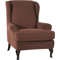 Sofa Covers Wing Chair Elastic Fabric Stretch Couch Slipcover Polyester Spandex Furniture Protector (Dark coffee),model:Dark coffee