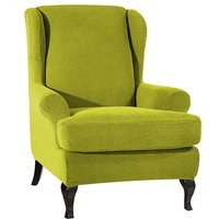 Sofa Covers Wing Chair Elastic Fabric Stretch Couch Slipcover Polyester Spandex Furniture Protector (Green),model:Green