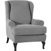 Sofa Covers Wing Chair Elastic Fabric Stretch Couch Slipcover Polyester Spandex Furniture Protector (Light grey),model:Light grey