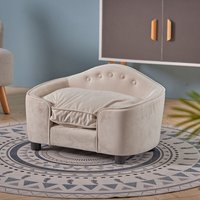 Soft Pet Sofa Bed Dog Kitty Puppy Cat Couch Cushion Chair Seat Lounger House Beige - LIVINGANDHOME