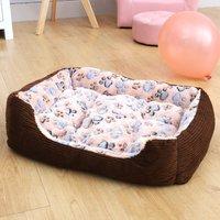 Soft Warm Pet Bed House Mattress Dog Cat Puppy Mat Cushion Kennel - Coffee 45 x 30 x 12 cm